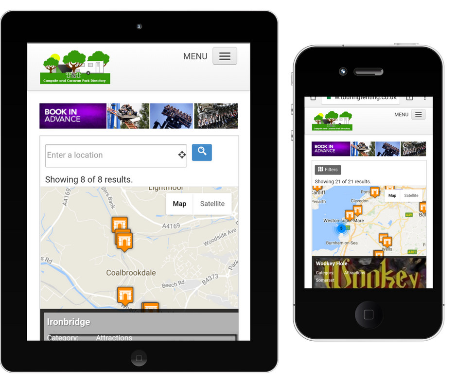 Find attractions near campsites on your mobile or tablet
